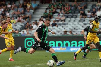 Western United marksman Besart Berisha drives an effort on goal in March.