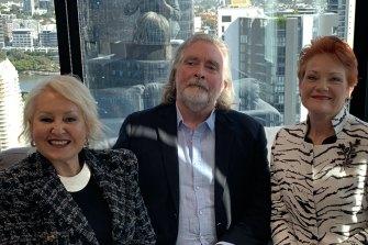Prue MacSween, Michael Lehman and Federal Senator Pauline Hanson.