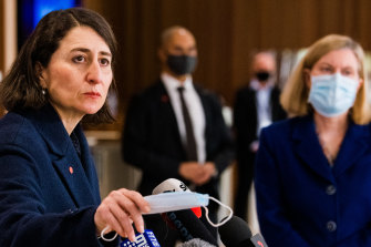 Premier Gladys Berejiklian and  Chief Health Officer Kerry Chant at the daily COVID briefing on  Monday.