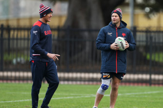 Craig Fitzgibbon with Roosters skipper Boyd Cordner at training last week.