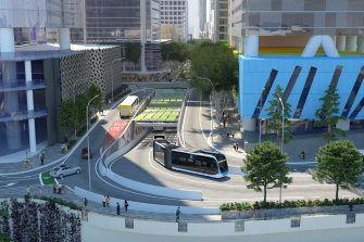 Concept images showing the planned entrance at North Quay for the Brisbane Metro Adelaide Street tunnel, not expected to be finished until May 2024.
