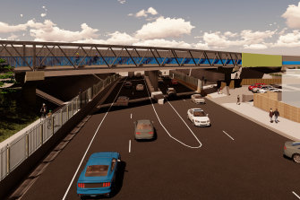 The bridge is designed to separate riders and pedestrians from the road.