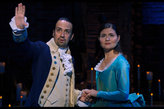 Lin-Manuel Miranda and Phillipa Soo as Alexander and Eliza Hamilton.