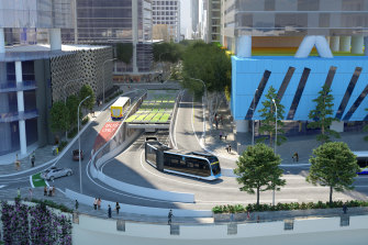 Concept images show Brisbane Metro's planned Adelaide Street tunnel entrance at North Quay, which is not expected to be finished until May 2024.