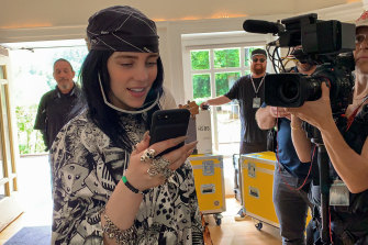 Billie Eilish filming her new music documentary Billie Eilish: The World's a Little Blurry.