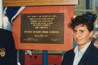 Gladys Berejiklian in high school, in a vide shown at the Liberal Party campaign launch on Sunday.