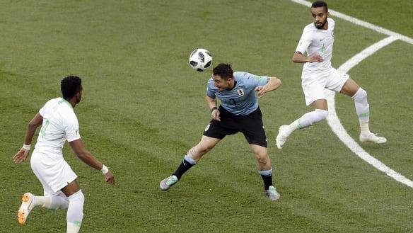 Suarez puts Uruguay in front against hapless Saudis