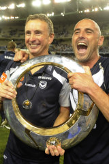 Merrick and Muscat celebrate the 2009 A-League grand final win.