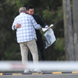 Mehajer hugs friend Samir Bargshoon after being released.