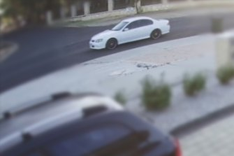 The white Ford Falcon XR6 police believe was in the area around the time the man was injured.