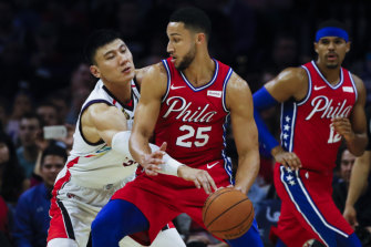 Ben Simmons drives to the net against Guangzhou, but it was his three-pointer that was all the talk.