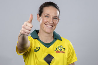 Thumbs up: Megan Schutt took a hat-trick against the West Indies in Australia's ODI