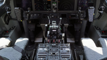The cockpit of a grounded Boeing 737 MAX 8.