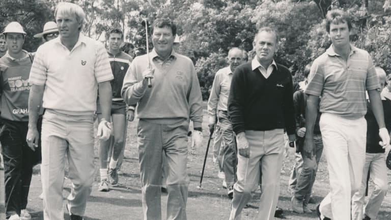 L-R: Australian golfing royalty Greg Norman, Peter Thomson, David Graham and Ian Baker Finch at a 1986 charity event.