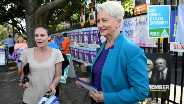 Independent candidate for Wentworth Kerryn Phelps is seen handing out how to vote cards in Bellevue Hill.