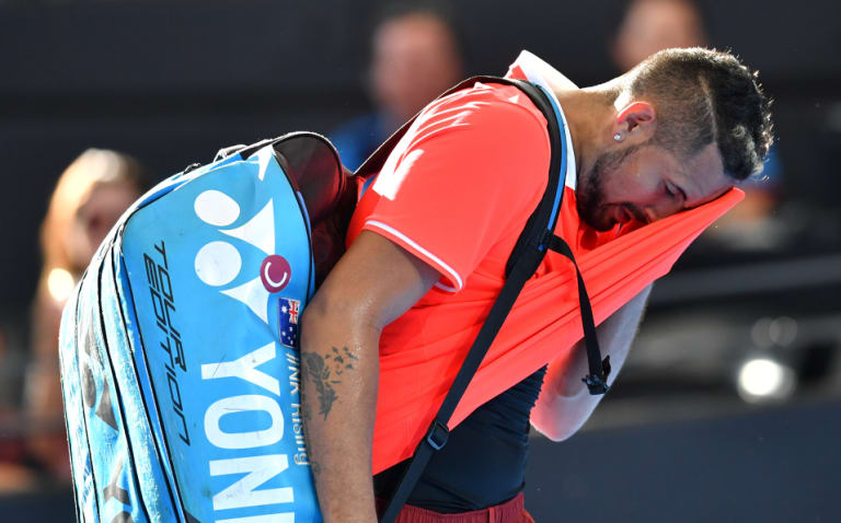 Hot and cold: Kyrgios was bundled out of the Brisbane International this week in the second round by Jeremy Chardy.