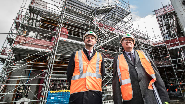 Chief Minister Andrew Barr (left) and ANU vice-chancellor Prof Brian Schmidt on site at the new Kambri precinct.