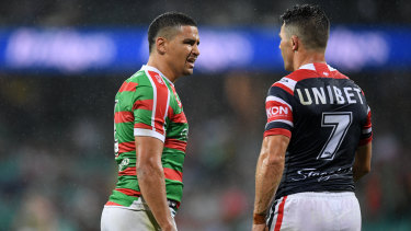 """""""Disrespectful"""": Cody Walker clashes with Roosters playmaker Cooper Cronk at the SCG on Friday."""
