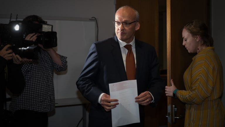 Luke Foley arrives at his press conference to announce his resignation.
