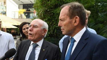 Former prime minister John Howard campaigns for Tony Abbott in Warringah.