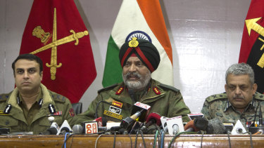 Indian Army's Lieutenant General KJS Dhillon, centre, on Tuesday.