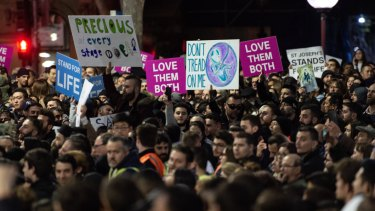 Anti-abortion protesters in Martin Place on Tuesday night have rallied to make their voices heard.