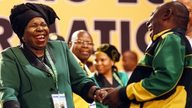 ANC presidential candidates Nkosazana Dlamini-Zuma, left, and Cyril Ramaphosa, during the 54th national conference.