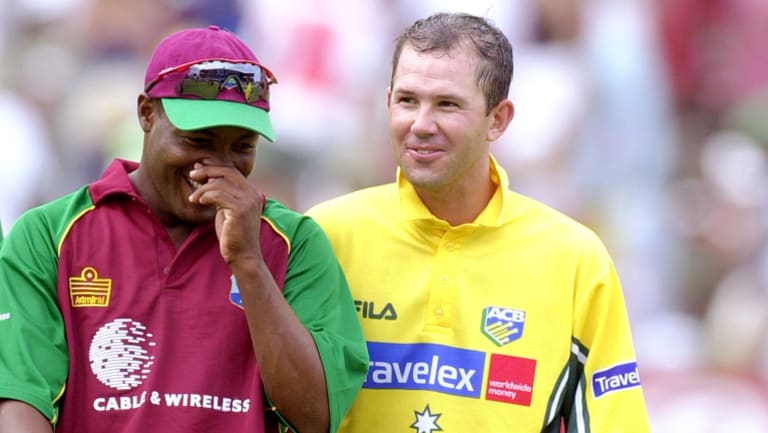 Lara with then Australian captain Ricky Ponting in 2003.