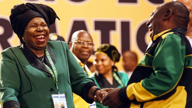 ANC presidential candidates Nkosazana Dlamini-Zuma, left, and Cyril Ramaphosa, during the 54th national conference.