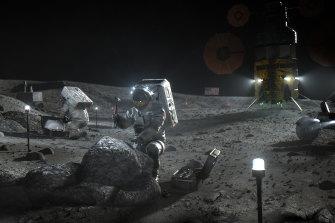 A NASA illustration depicting Artemis astronauts on the moon.