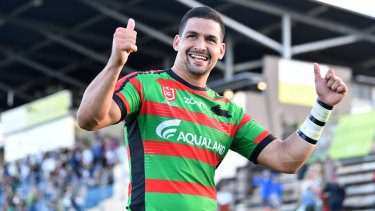 Thumbs up: Rabbitoh Cody Walker will partner Penrith's Nathan Cleary in the NSW halves.