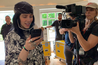 Billie Eilish filming her new music documentary Billie Eilish: The World's a Little Blurry.