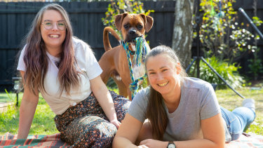 Loz Robinson and Emily Hallam adopted 14-month-old boxer Cooper in July.