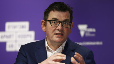 Daniel Andrews addresses the media at the daily press conference.