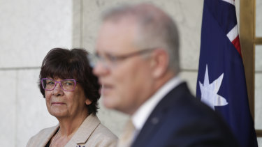 Pat Turner with Prime Minister Scott Morrison as they announced the national agreement in July last year.