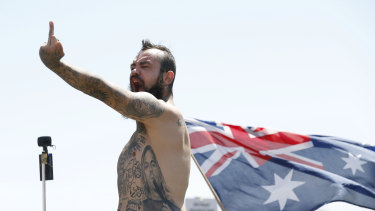 Right wing protestors rallied in St Kilda.