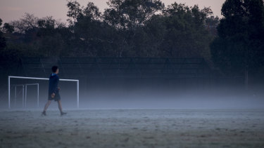 A frosty Macleay Park in Balwayn on Friday morning