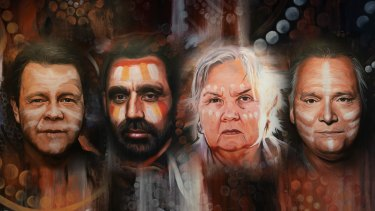Portraits of Troy Cassar-Daley, Adam Goodes, Pat Anderson, Stan Grant were painted as part of a recording of the Uluru Statement from the Heart.