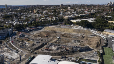 Hole in the ground: The demolition site of Sydney Football Stadium earlier this year.