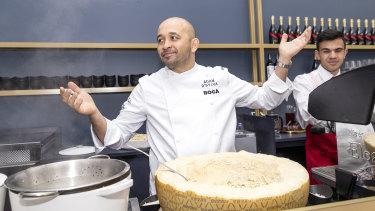 Adam D'Sylva makes cacio a pepe in the Tabcorp marquee.