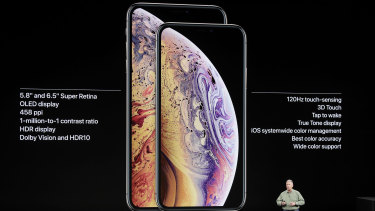 Phil Schiller, Apple's senior vice-president of worldwide marketing, unveils the Apple iPhone XS and iPhone XS Max.