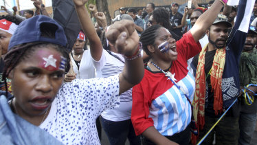 Papuan activists protest in East Java on Saturday.