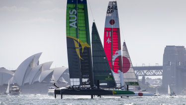 Australia's SailGP Team, skippered by Tom Slingsby, charges around Sydney Harbour in February.