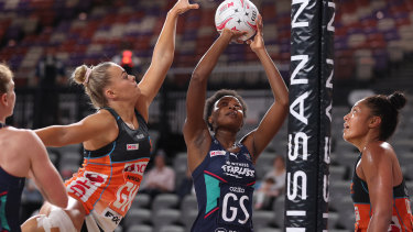 Mwai Kumwenda of the Vixens shoots during the round nine Super Netball match between the Giants and the Melbourne Vixens.