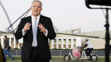 Prime Minister Scott Morrison outside Parliament House this week. Election campaigns are when the seeds of later waste are sown.