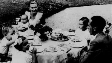 Nazi propaganda minister, Joseph  Goebbels, poses for photos with his wife and four children in 1937.