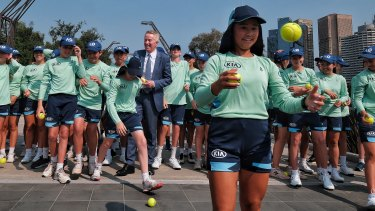 Tennis Australia's Craig Tiley with  Australian Open 2020 ballkid squad members, in Melbourne Park on Tuesday.