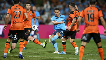 Sydney FC's Bobo strikes at goal during his A-League return.