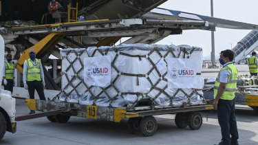 Relief supplies from the United States in the wake of India's COVID-19 situation arrive at the Indira Gandhi International Airport cargo terminal in New Delhi, India on Friday.