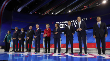 From left, Democratic presidential candidates Amy Klobuchar, Cory Booker, Pete Buttigieg, Bernie Sanders, Joe Biden, Elizabeth Warren, Kamala Harris, Andrew Yang, Beto O'Rourke and Julian Castro are introduced for the primary debate in Texas.
